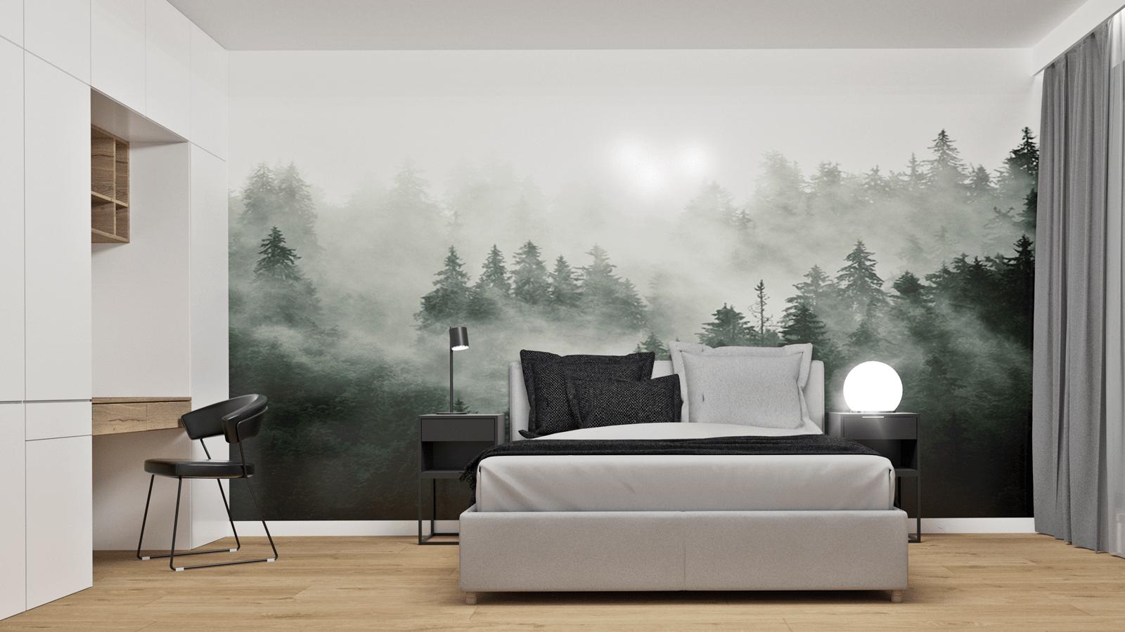 sypialnia z tapetą z lasem min